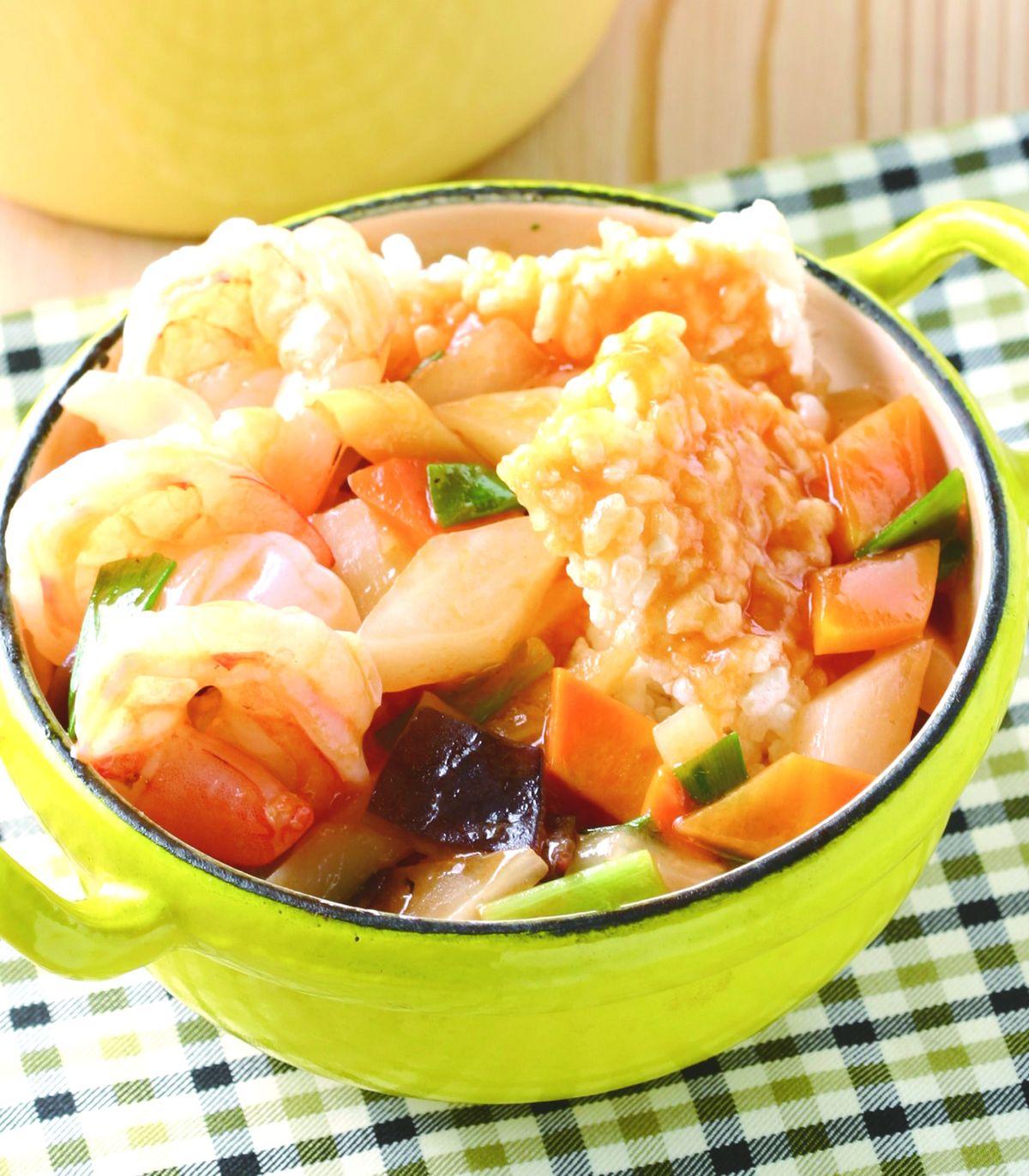 食譜:鍋巴明蝦煲