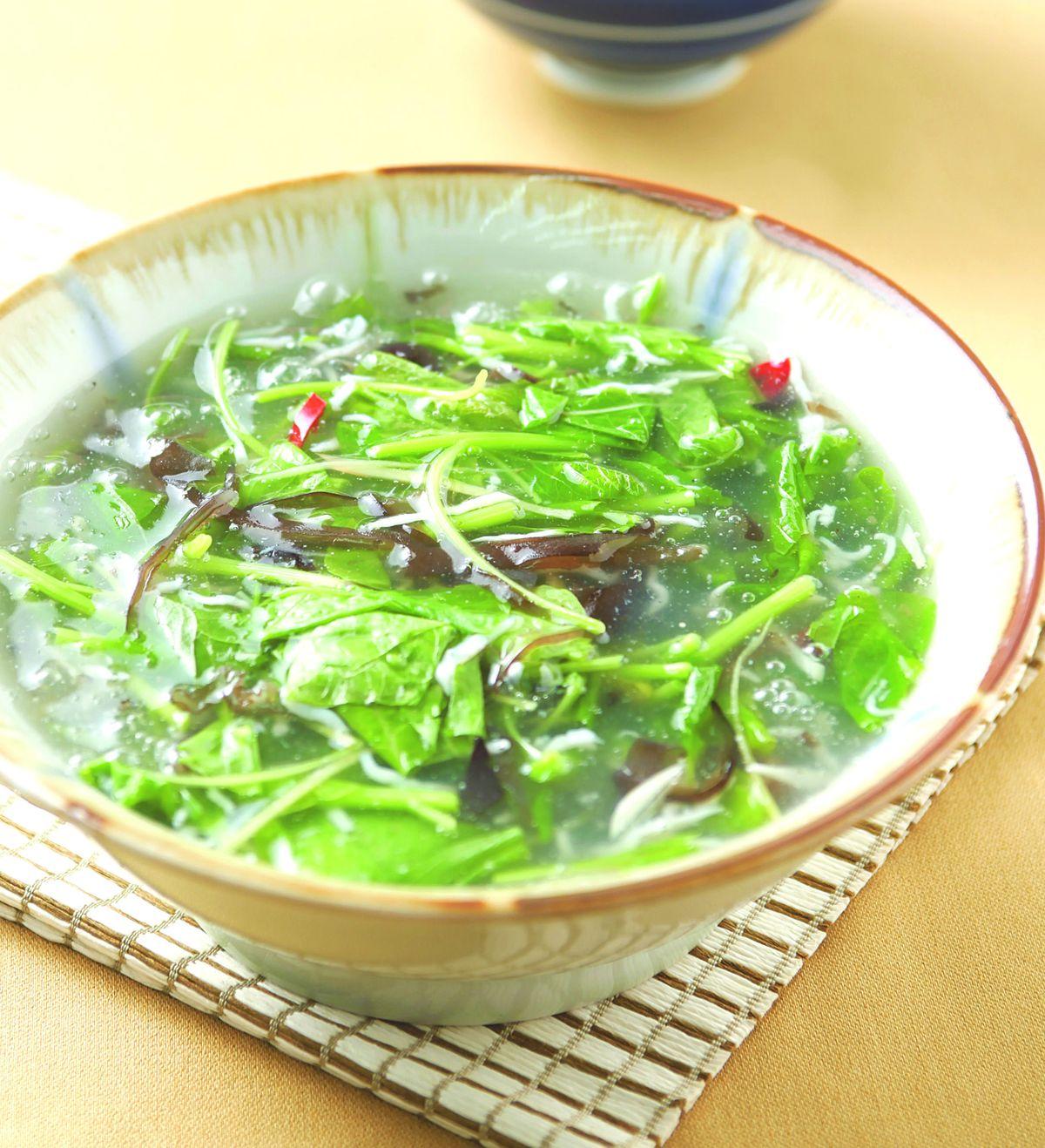 食譜:莧菜銀魚羹(1)