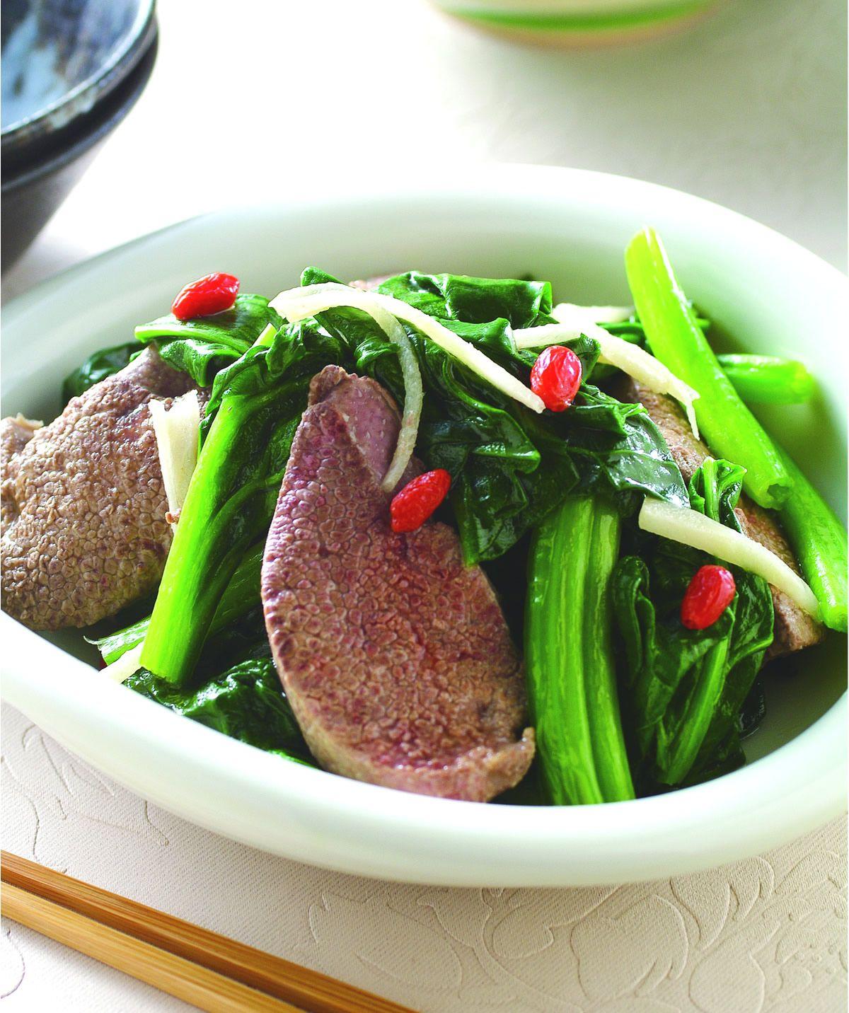 食譜:菠菜炒豬肝(2)