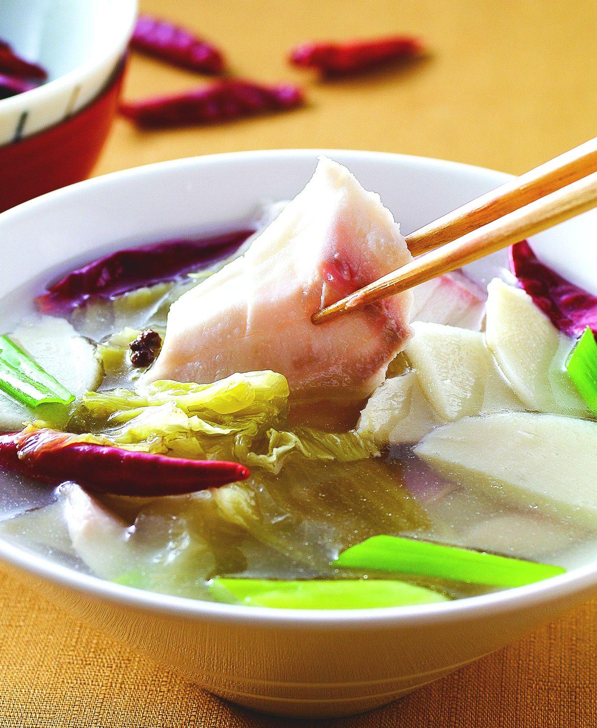 食譜:酸菜魚片湯