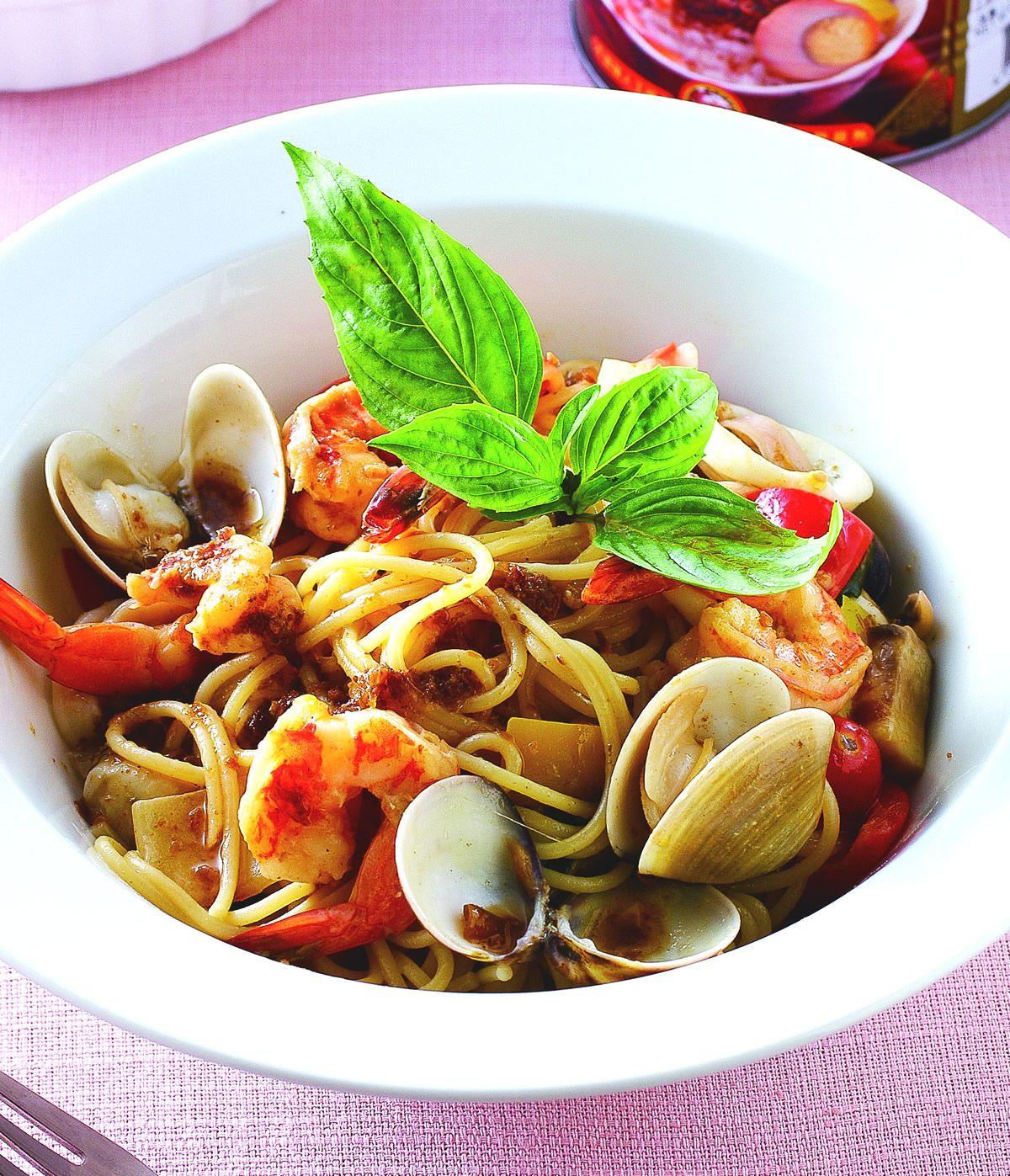 食譜:香蔥海鮮義大利麵